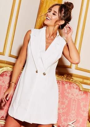 557bb3a446393a Missy Empire Missyempire Maddison White Sleeveless Waistcoat Mini Dress