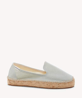 Soludos Women's Platform Smoking Slippers Espadrille Chambray Size 6 Canvas From Sole Society