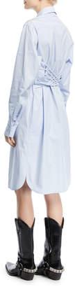 Calvin Klein Button-Front Long-Sleeve Poplin Shirtdress