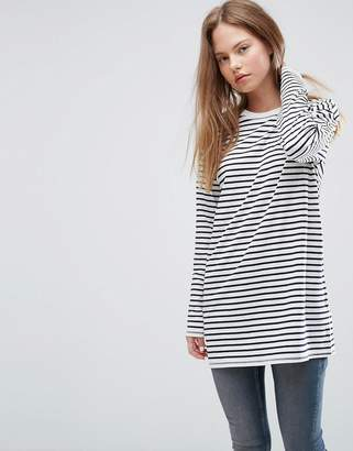 ASOS Stripe T-Shirt with Long Sleeve in Oversize Fit $23 thestylecure.com