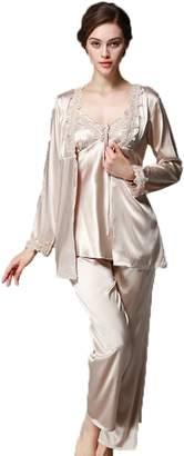 Wentsven Women's Sexy Synthetic Silk Pajamas 3 Sets with Camisole Pant