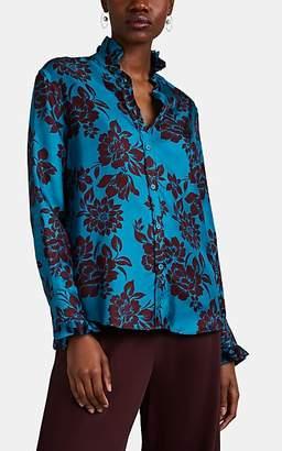 THE GIGI Women's Luna Tropical-Floral Silk Blouse - Turquoise