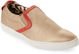 Just Cavalli Gold Embossed Metallic Leather Slip-On Sneakers