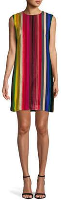 Milly Gina Rainbow Velvet Shift Dress