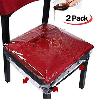 clear HOMEMAXS Dinning Chair Covers Chair Protector Waterproof Bigger Size with Adjustable Belt Strap For Most Chairs
