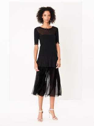 Oscar de la Renta Pleated Tiered Silk-Chiffon Skirt