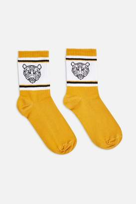Topshop Tiger Embroidered Tube Socks