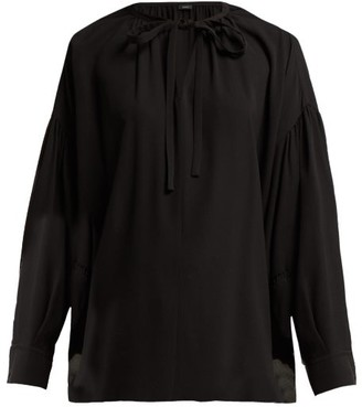 Joseph Elijah Tie Neck Silk Georgette Blouse - Womens - Black