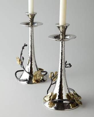 Michael Aram Two Gold Orchid Taper Candleholders