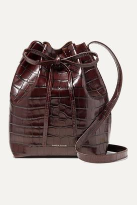 Mansur Gavriel Mini Croc-effect Leather Bucket Bag - Dark brown