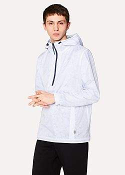 Paul Smith Men's White Packable Micro-Ripstop Half-Zip Jacket with 'Paint Splash' Print Lining