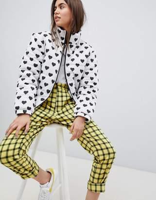 Daisy Street padded jacket with all over heart polka dot