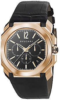 Bvlgari Men's Octo 18K Rose Gold & Black Alligator Strap Watch