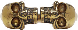 Alexander McQueen Gold Twin Skull Ring $330 thestylecure.com