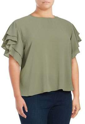 Vince Camuto Plus Plus Drop-Shoulder Tiered Ruffle Top
