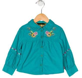 Oilily Girls' Embroidered Corduroy Top
