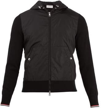 Moncler Contrast Panel Hooded Bomber Jacket - Mens - Black
