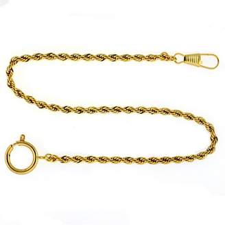 """Paylak PC6-G 14"""" Gold-Tone Pocket Watch Chain Fob Rope Link Design"""