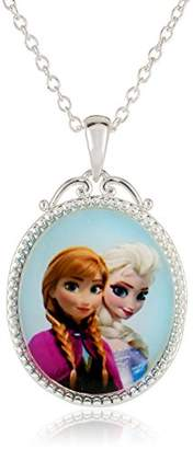 Disney Girls' Frozen -Plated Anna and Elsa Pendant Necklace