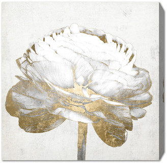 Oliver Gal Gold And Light Floral Ii White Canvas Art