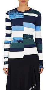 Opening Ceremony Women's Striped Knit Fitted Top - Blue