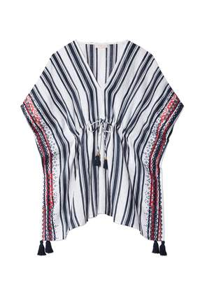 Tory Burch Ravena Awning-Stripe Beach Caftan