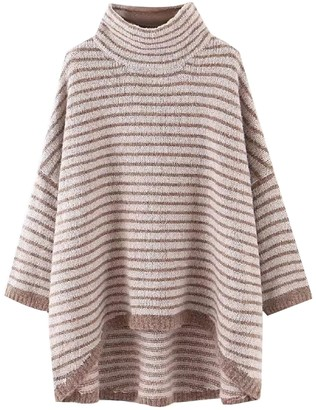 Goodnight Macaroon 'Macy' Striped Turtleneck Cape Sweater