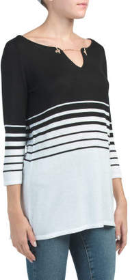 Striped Sweater Tunic With Chain Detail