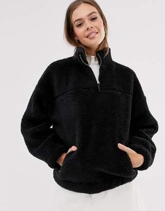 New Look borg fleece jacket in black