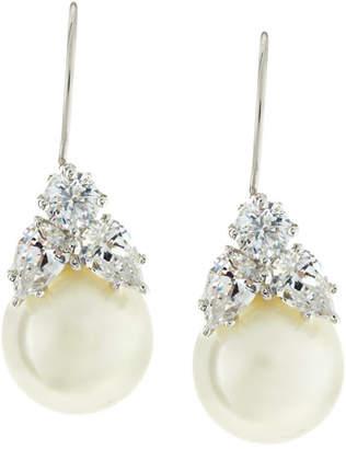 FANTASIA 10mm Simulated Pearl & Cubic Zirconia Drop Earrings