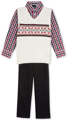 Tfw 3-Pc. Plaid Shirt, Fair Isle Sweater Vest & Pants Set, Little Boys
