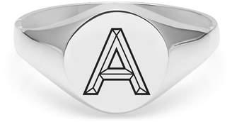 Myia Bonner Silver A Facett Initial Signet Ring