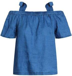 J Brand Evonie Cold-Shoulder Linen-Chambray Top