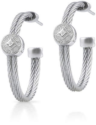 Alor Cable Hoop Earrings w/ Diamond Pave, Gray
