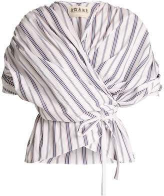 Awake Gathered striped cotton wraparound top