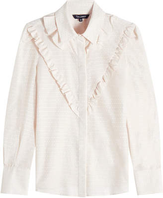 Tara Jarmon Ruffled Jacquard Blouse with Cotton and Silk