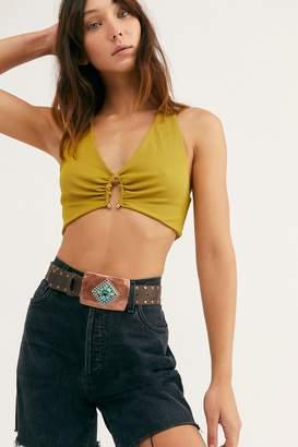 Leather Rock Amber Embellished Leather Belt