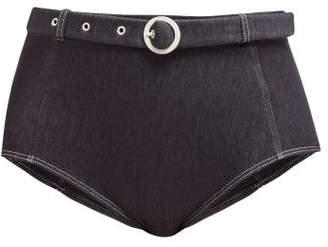 Solid & Striped The Jean High Rise Belted Bikini Briefs - Womens - Blue