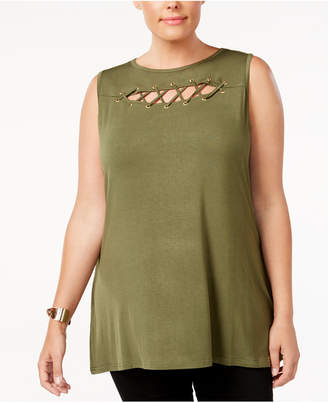 Belldini Plus Size Lace-Up Cutout Top