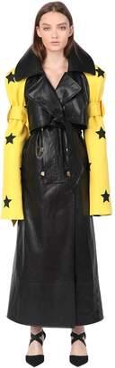 Simongao Stars Printed Scuba Faux Leather Coat