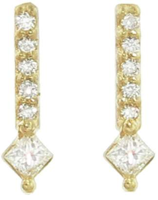 Tate Diamond Shape And Pavé Bar Stud Earrings