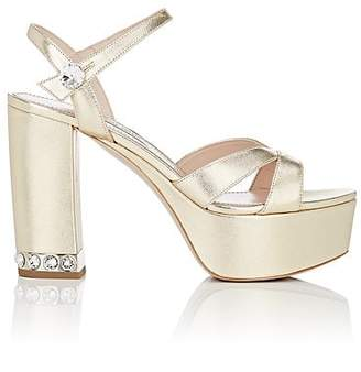10608765217e Miu Miu Women s Metallic Leather Ankle-Strap Platform Sandals - Gold