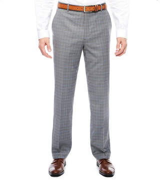 F&F STAFFORD STF Travel Stretch Grey Blue Plaid FF Pant Cls