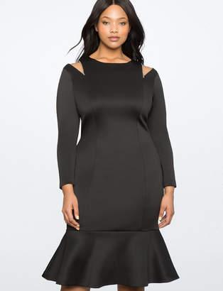 ELOQUII Zip Shoulder Detail Dress with Flounce Hem