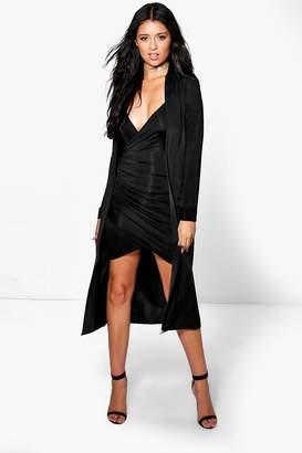 boohoo Slinky Wrap Drape Dress & Duster Co-ord