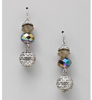 Laura Ashley Purple Faceted Bead Drop Earrings