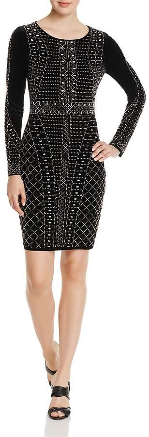 Aqua Beaded Velvet Sheath Dress - 100% Exclusive