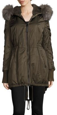 Derek Lam 10 Crosby Fox Fur-Trim Satin Hi-Lo Parka $895 thestylecure.com