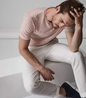 Reiss DOBCOT LINEN BLEND STRIPED T-SHIRT Soft Pink