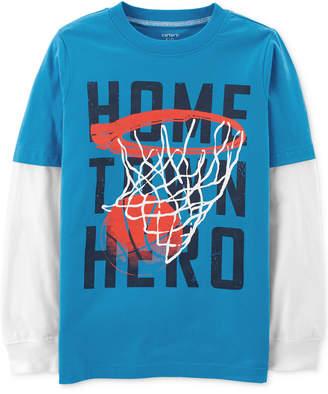 Carter's Carter Little & Big Boys Hero-Print Layered-Look Cotton T-Shirt